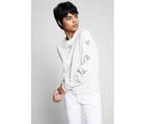 Sweatshirt mit Häkeldetails Créme - 100% Baumwolle