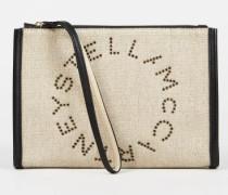 Clutch 'Stella Logo Canvas' Beige/Schwarz
