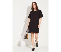 Kurzes Kleid mit Muschelsaumkanten Schwarz
