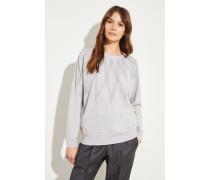 Cashmere-Pullover mit Perlenverzierung Grau