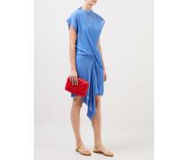 Plissiertes Baumwoll-Seiden Kleid Blau
