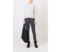 Cashmere-Pullover mit V-Neck Hellgrau