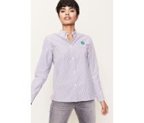 Gestreifte Bluse mit Logo-Patch 'Fae Shirt' Weiß/Blau - 100% Baumwolle
