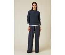 Pullover mit Perlenverzierung Blau