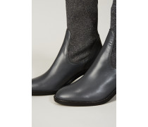 Leder-Stiefelette 'Selene' mit Strickschaft Grau