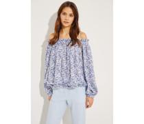 Seiden-Top mit floralem Print Blau/Multi