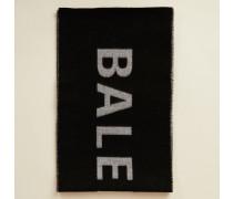 Wollschal mit Logo-Druck Schwarz/Weiß