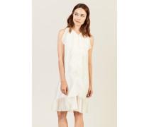 Midi-Kleid mit Volants Crèmeweiß