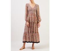 Langes Kleid 'Brooke' mit floralem Print Weiß/Multi