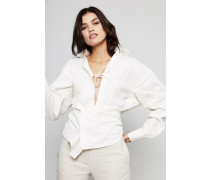 Oversized Bluse 'La Chemise Valparais' Beige gestreift