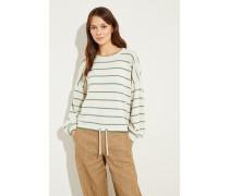 Woll-Cashmere-Pullover mit Streifen Crème/Grün
