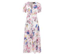 Seidenkleid 'Lea' mit floralem Pint Weiß/Multi