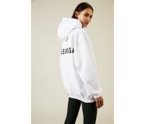 Oversized Hoodie mit Logo-Schriftzug Weiß