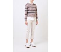 Woll-Cashmere-Pullover mit Paillettendetails Beige/Multi