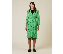 Wickel-Kleid mit Punktemuster Grün