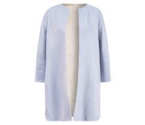 Handgefertigter Woll-Leinen-Mantel zum Wenden Blau/Beige