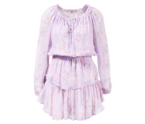 Seiden-Kleid 'Popover' mit floralem Muster Violett