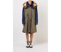 Langer Mantel mit Kapuze Blau/Khaki