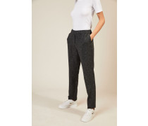 Woll-Cashmere-Hose mit Fischgrätmuster Grau