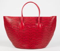 Handtasche 'Vienne Vague' aus gestanztem Leder Rot