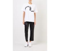 T-Shirt 'Melting Pot' mit frontalem Schriftzug Weiß/Schwarz