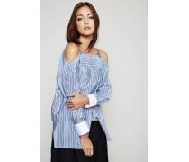 Gestreifte Bluse mit perlenverzierten Trägern Weiß/Blau - Seide