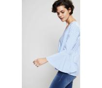 Baumwoll-Bluse 'Tania' mit Glockenärmeln Blau/Weiß