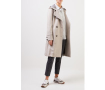 Woll-Cashmere-Mantel mit Gürtel Beige