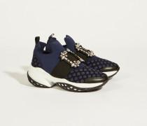Sneaker 'Viv Run' mit Strass-Schnalle Blau/Schwarz