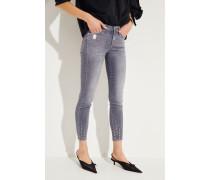 Skinny-Jeans 'The Skinny Crop' mit Glitzerbesatz Grau