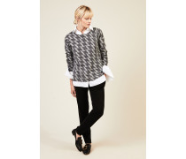 Cashmere-Pullover 'Vail' mit Hahnentrittmuster Grau