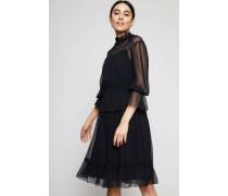 Semitransparentes Baumwoll-Seiden-Kleid Schwarz - Seide