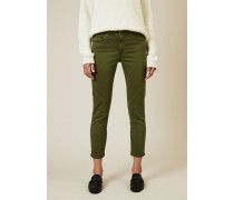 Cigarette Leg Jeans 'The Prima Cropped' Grün - Leder