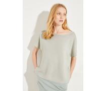 Baumwoll-Pullover mit Perlenverzierung Salbei