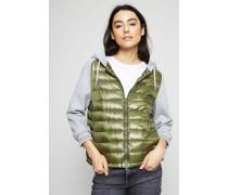Sweatshirt mit Daunen-Element Grün/Grau