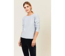 Woll-Seiden-Pullover Blau