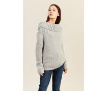 Mohair-Woll-Pullover mit breitem Kragen Grau