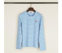 Gestreiftes Longsleeve Hellblau/Weiß - 100% Baumwolle