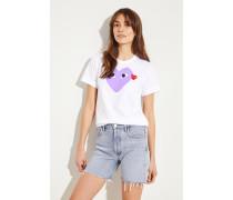 T-Shirt mit Herz-Emblem Weiß/Violett