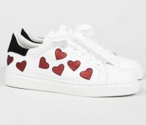 Sneaker '29 Love Street' Weiß/Rot - Leder