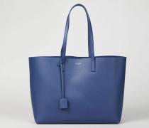 Weicher Glattleder-Shopper Blau - Leder