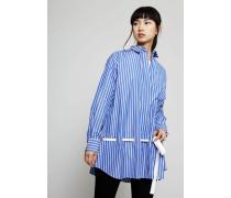 Oversized Bluse mit Bindeelement Blau/Weiß - 100% Baumwolle