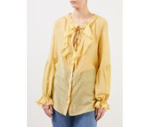 Transparente Bluse mit Volants Gelb