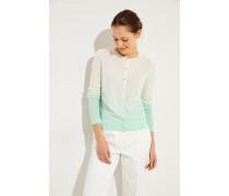 Cashmere-Cardigan 'Conny' mit Farbverlauf Weiß/Grün