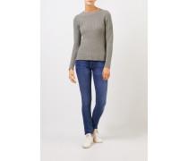 Cashmere-Pullover mit Strickdetail Salbei