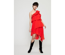 One-Shoulder Seidenkleid mit Volants Brigth Red