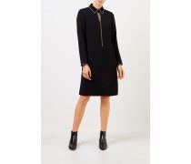 Klassisches Kleid mit Strassbesatz Schwarz