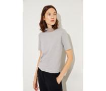 Feinripp-Shirt mit verziertem Stehkragen Grau