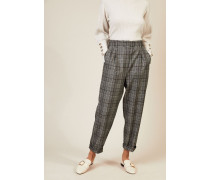 Woll-Hose mit Glencheckmuster Grau - Cashmere