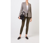 Lederhose mit Zipper-Details Khaki